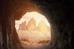 Tre Cime di Lavaredo in beautiful surroundings in the Dolomites stock photo