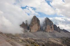 Tre Cime di Lavaredo - de drie pieken van Lavaredo Royalty-vrije Stock Foto's