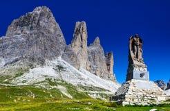 Tre Cime di Lavaredo, dolomia, alpi Fotografia Stock Libera da Diritti