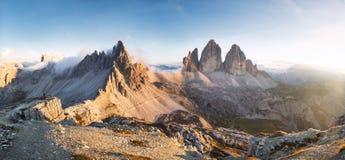Tre Cime di Lavaredo Dolomites, Italien Arkivbild