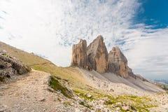 Tre cime di lavaredo, Dolomites Mountains, Stock Image