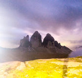 Tre Cime di Lavaredo, Dolomites peaks at night Royalty Free Stock Photos