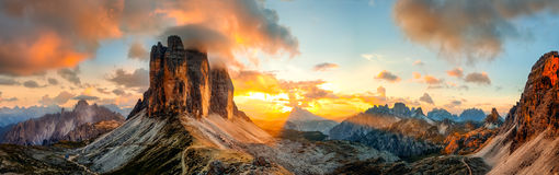 Tre Cime di Lavaredo, Dolomites Stock Photo