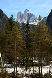 Tre Cime di Lavaredo Drei Zinnen,白云岩,威尼托 免版税图库摄影
