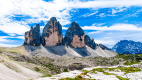 Tre Cime di Lavaredo drie pieken van Lavaredo in Itali Royalty-vrije Stock Foto