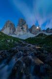 Tre Cime di Lavaredo i de Italiayn dolomitesna Royaltyfria Bilder