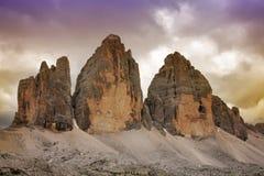 Tre Cime di Lavaredo - Italia Imagen de archivo libre de regalías