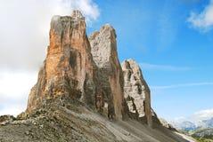 Tre Cime di Lavaredo - landmark of Dolomites Royalty Free Stock Photo