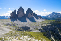 Tre Cime di Lavaredo - landmark of Dolomites Royalty Free Stock Image