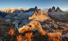 Tre Cime di Lavaredo, Locatelli Alpi delle dolomia, Tirolo L'Italia, E Immagini Stock Libere da Diritti