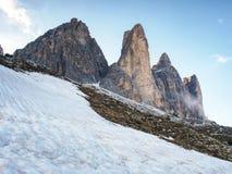 Tre Cime di Lavaredo massif, également connu comme Drei Zinnen Photos stock