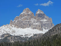 Tre Cime di Lavaredo Misurina lake views in cadore in Italy Stock Photo
