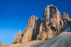 Tre Cime di Lavaredo, montañas de la dolomía Fotos de archivo libres de regalías
