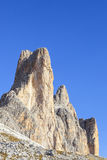 Tre Cime Di Lavaredo mountain peaks Royalty Free Stock Photo