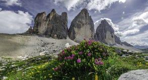 Tre Cime Di Lavaredo mountain. View of three peaks in the domomites Stock Photo