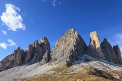 Tre Cime Di Lavaredo mountains Stock Image