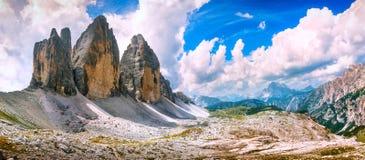 Tre Cime di Lavaredo panoramic view. Dolomiti Italian Alps, Vene Stock Photos