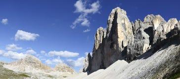 Tre cime di Lavaredo panoramic view Royalty Free Stock Image