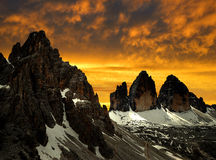 Tre cime di Lavaredo with Paternkofel. Dolomite Alps,Italy Royalty Free Stock Photography