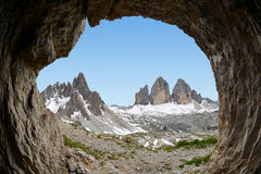 Tre cime di Lavaredo with Paternkofel. Dolomite Alps, Italy View from man-made caves from World War I Stock Images