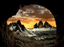 Tre cime di Lavaredo with Paternkofel at sunset Royalty Free Stock Photography