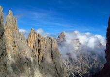 Tre Cime di Lavaredo peaks, Dolomit Alps mountains Stock Photo