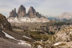 Tre Cime di Lavaredo peaks in Dolomites Royalty Free Stock Images