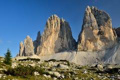 Tre Cime di Lavaredo, Sexten Dolomites in Italy Stock Photos