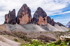 The Tre Cime di Lavaredo in the Sexten Dolomites of northeastern Italy. Stock Images