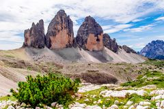 The Tre Cime di Lavaredo in the Sexten Dolomites of northeastern Italy Royalty Free Stock Images