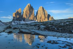 Tre cime di Lavaredo at sunrise, Dolomite Alps, Italy stock images