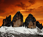 Tre cime di Lavaredo. In the sunset , Dolomite Alps, Italy Stock Photography