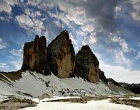 Tre cime di Lavaredo in the sunset Royalty Free Stock Photo