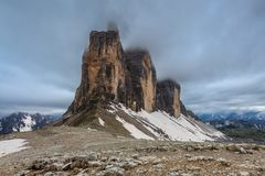 Tre Cime. Dolomite Alps, Italy. Tre cime di Lavaredo at sunset, Dolomite Alps, Italy Royalty Free Stock Photo