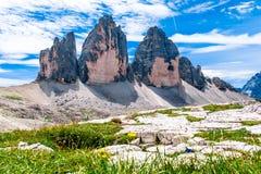 Tre Cime di Lavaredo três picos de Lavaredo no Itali Imagem de Stock Royalty Free