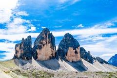 Tre Cime di Lavaredo tres picos de Lavaredo Imágenes de archivo libres de regalías