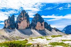 Tre Cime di Lavaredo tres picos de Lavaredo en el Itali Fotos de archivo