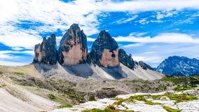 Tre Cime di Lavaredo tres picos de Lavaredo en el Itali Foto de archivo libre de regalías