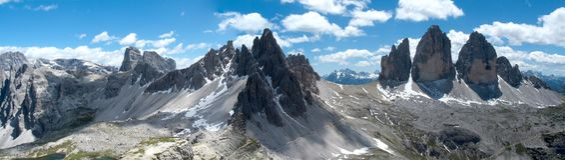 Tre CIME di Lavaredo und Berg Paterno Lizenzfreies Stockbild