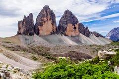 Tre Cime Di Lavaredo w Sexten dolomitach northeastern Włochy Obrazy Stock