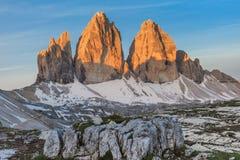 Tre Cime. Dolomite Alps, Italy. Tre Cime di Lavaredo at sunrise, Dolomite Alps, Italy Stock Images