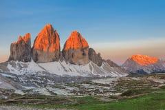 Tre Cime. Dolomite Alps, Italy. Tre Cime di Lavaredo at sunrise, Dolomite Alps, Italy Stock Image
