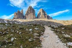 Tre Cime. Dolomite Alps, Italy. Tre Cime di Lavaredo at sunrise, Dolomite Alps, Italy Royalty Free Stock Photos