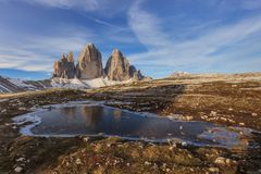 Tre Cime. Dolomite Alps, Italy. Tre cime di Lavaredo at sunset, Dolomite Alps, Italy Stock Photo