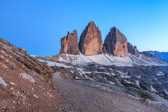 Tre Cime. Dolomite Alps, Italy. Tre Cime di Lavaredo at sunset, Dolomite Alps, Italy Royalty Free Stock Photos