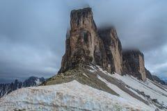 Tre Cime. Dolomite Alps, Italy. Tre Cime di Lavaredo in winter. Dolomite Alps, Italy Stock Photo