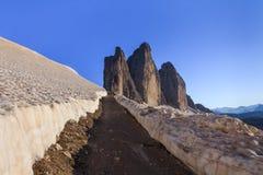 Tre Cime. Dolomite Alps, Italy. Tre Cime di Lavaredo in winter. Dolomite Alps, Italy Royalty Free Stock Image