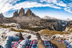 Tre Cime Dolomiti视图 免版税库存图片