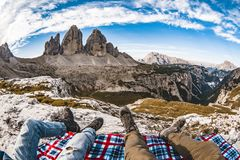 Tre Cime Italy Dolomiti view. Tre Cime Dolomiti view and chill out Royalty Free Stock Image
