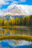 Tre Cime from Lago Antorno in Autumn, Dolomites, Italy Royalty Free Stock Photos